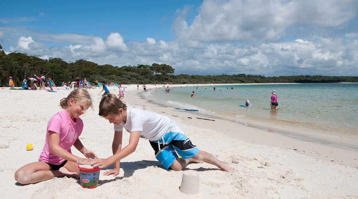 Kids play at Green Patch Beach, Booderee National Park