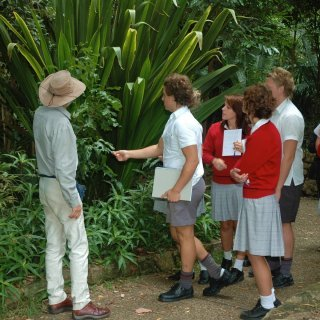 Secondary school students investigating native plants.