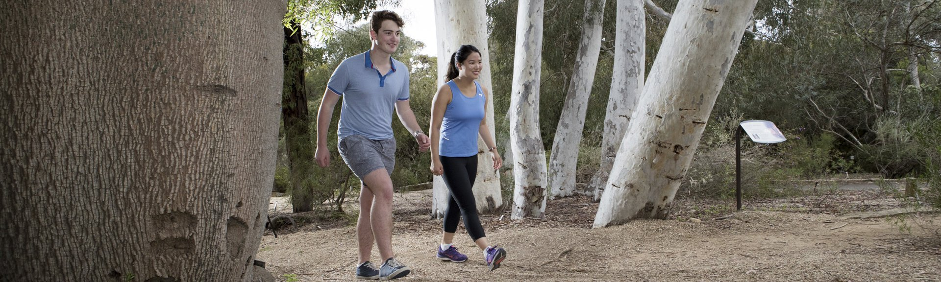 Visitors get moving along the Eucalypt Discovery Walk