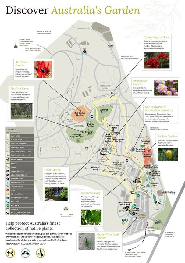 A map of the Australian National Botanic Gardens