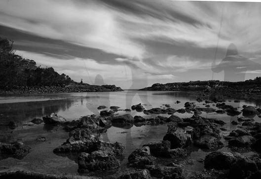 Fish traps at Booderee. Photo is a long exposure.