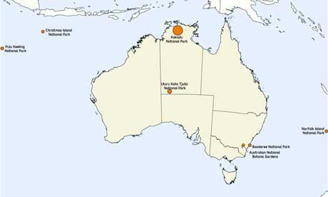 Map of Parks Australia locations