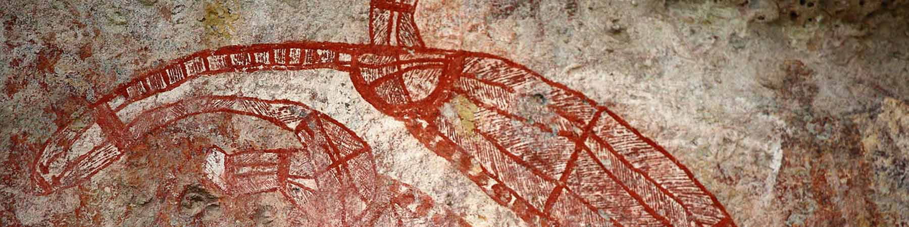 Rock art turtle painting, Kakadu National park
