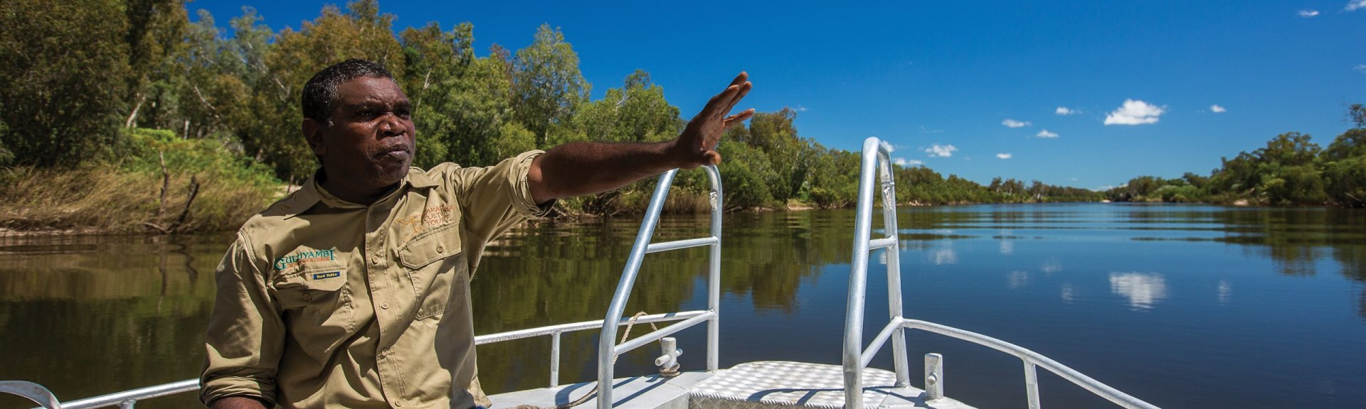 A guide on the Guluyambi Cultural Cruise. Photo by Kakadu Cultural Tours