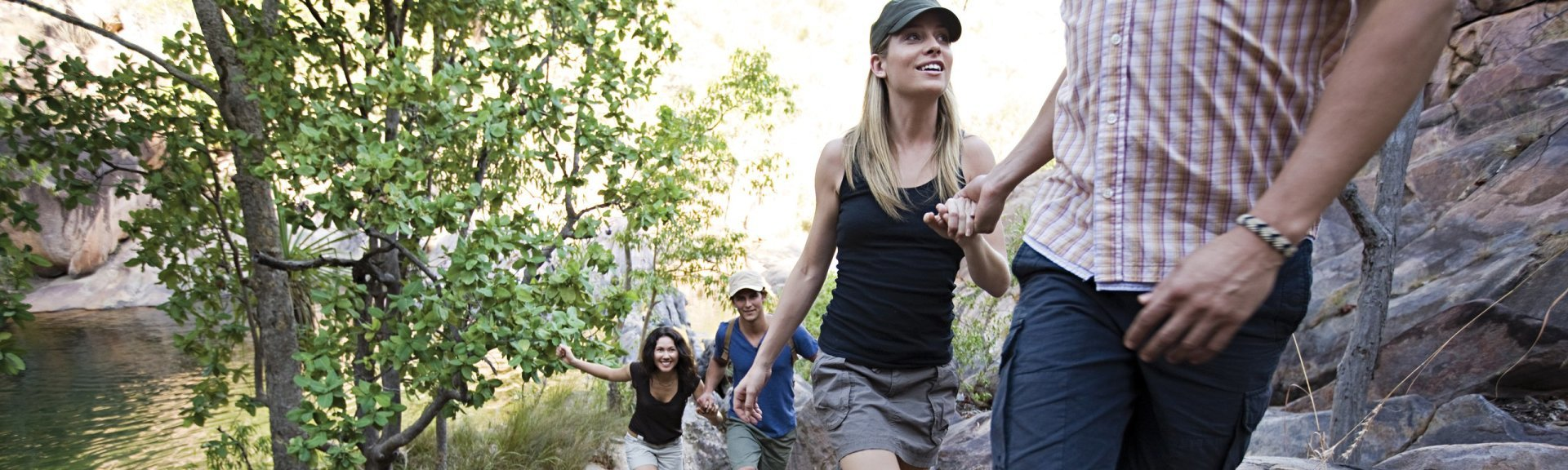 Visitors walking up to Gunlom Falls. Photo by Tourism NT