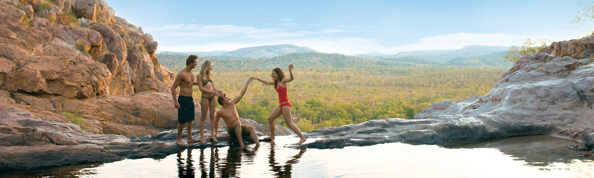 Float in Gunlom's natural infinity pool
