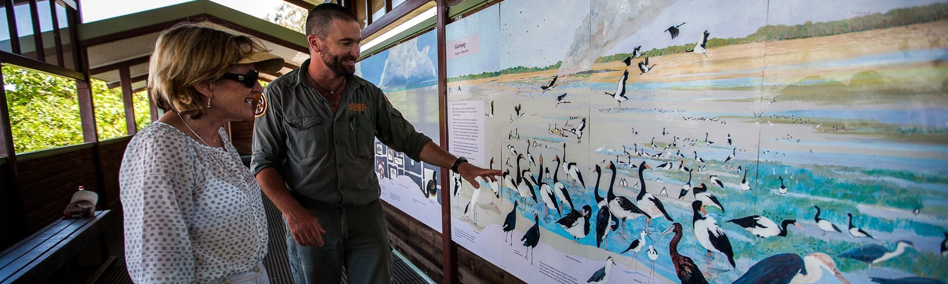 A ranger and visitor viewing the mural at Mamukala Bird Hide