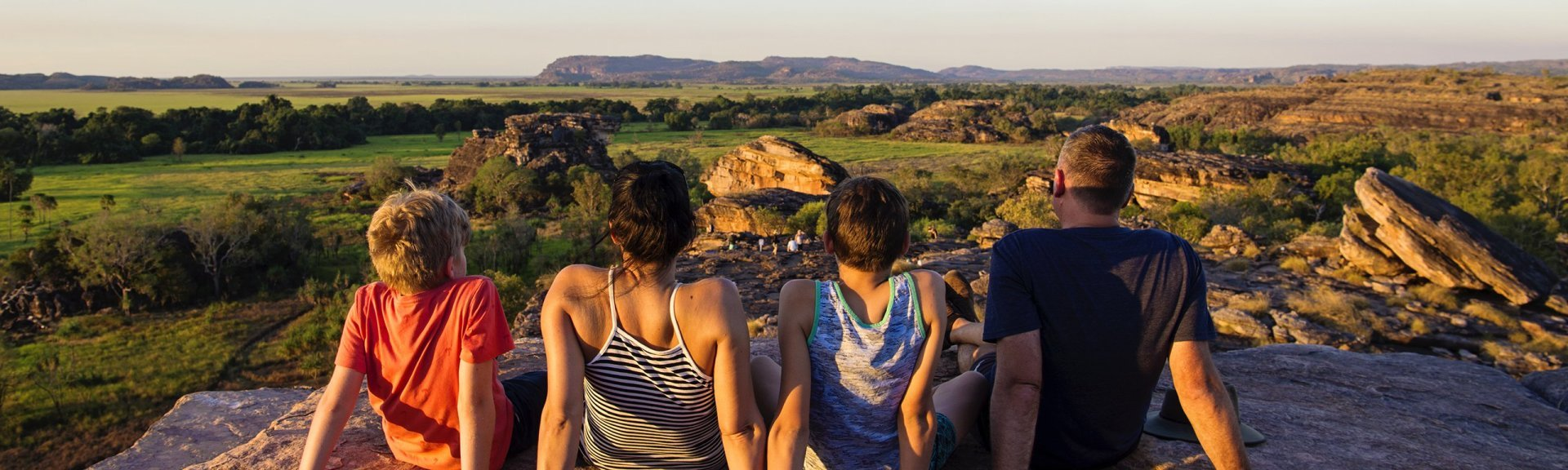 Family at Ubirr Lookout. Photo by Shaana McNaught, TourismNT.