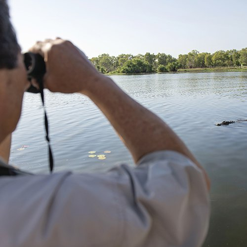 Croc spotting on Yellow Water Cruise. Photo by Tourism NT.