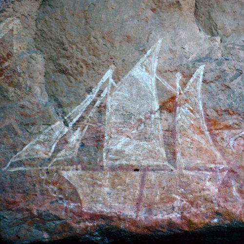 First contact rock art, Nanguluwurr, Burrungkuy (Nourlangie). Photo by Parks Australia.