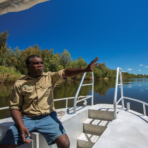 A guide on the Guluyambi Cultural Cruise. Photo by Kakadu Cultural Tours.