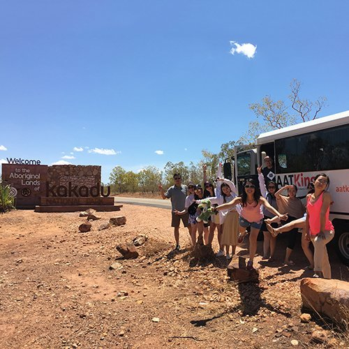 Visitors at the entrance to Kakadu. Photo by North Tours.