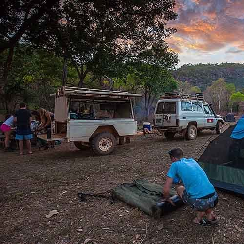 Camp vehicles. Picture by Territory Expeditions.