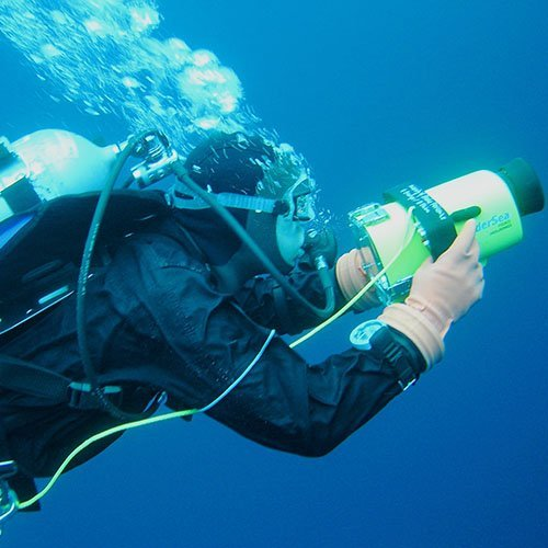 Diver conducting research
