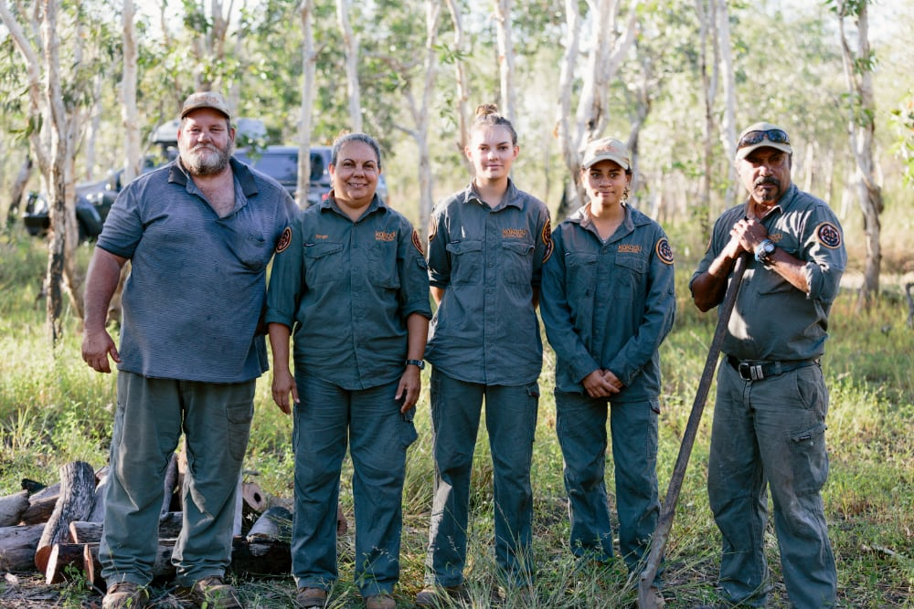 """Some of the ground oven crew at Taste of Kakadu 2018: Ian Conroy, Jenny Hunter, Catherine Ralph, Shantel Bayne, Freddy Hunter"""