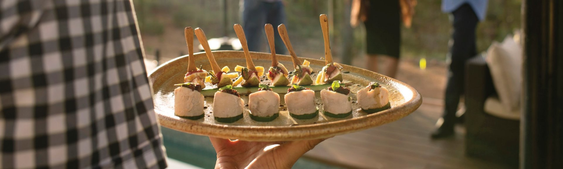 Canapes in Kakadu. Photo: Shaana McNaught. Tourism NT