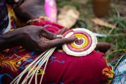 Traditional weaving using dyed pandanus fibres