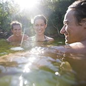 Swimming at Gunlom. Photo: Tourism NT