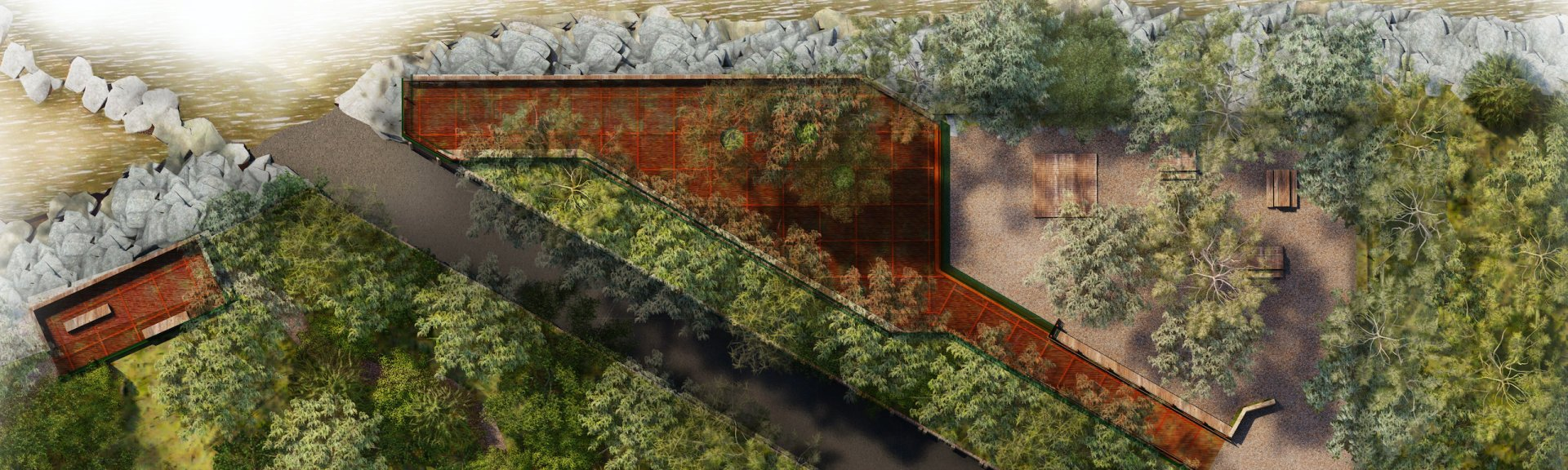 Artist's impression of Cahills Crossing viewing platform