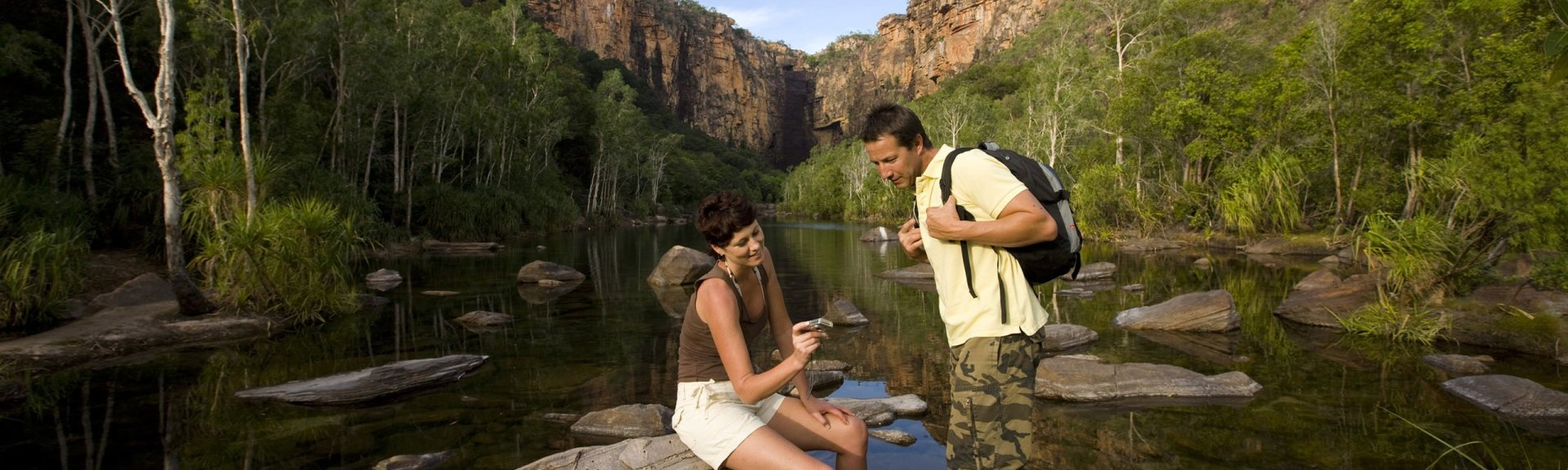 Visitors bushwalking in Kakadu. Photo: Adventure Tours