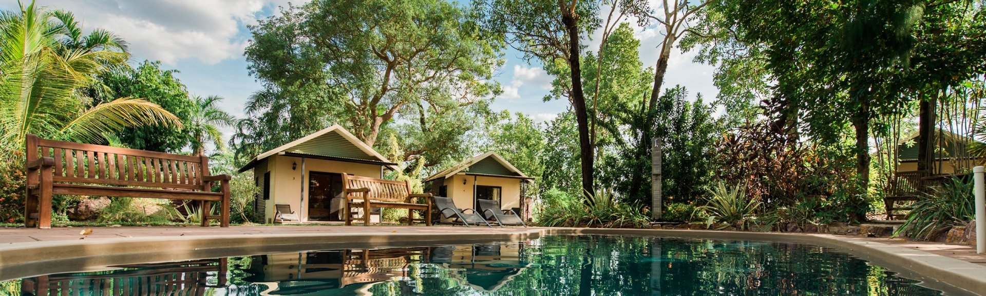 Pool bungalows at Mary River Retreat. Photo: Mary River Retreat