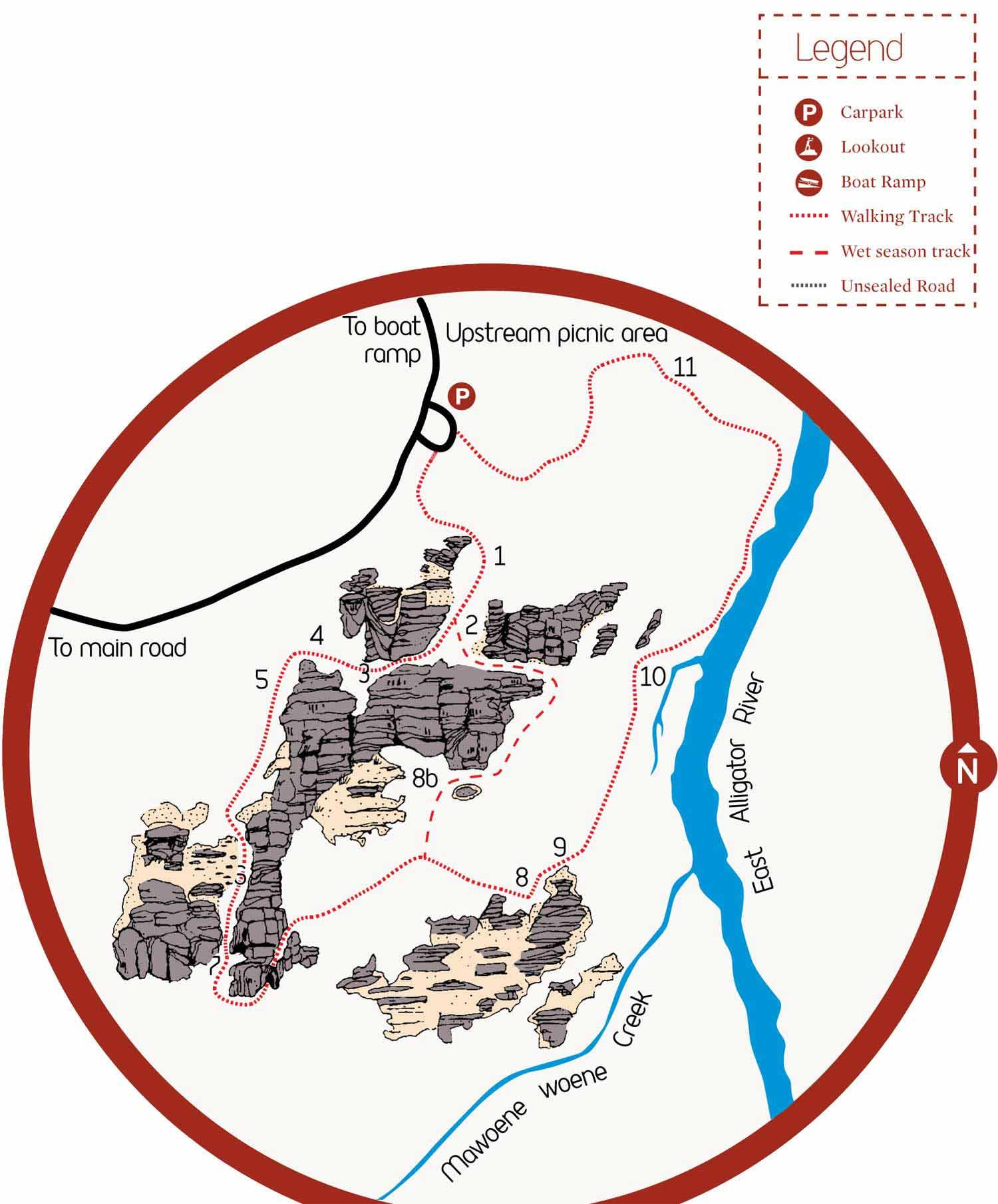 Bardedjilidji Sandstone Walk map