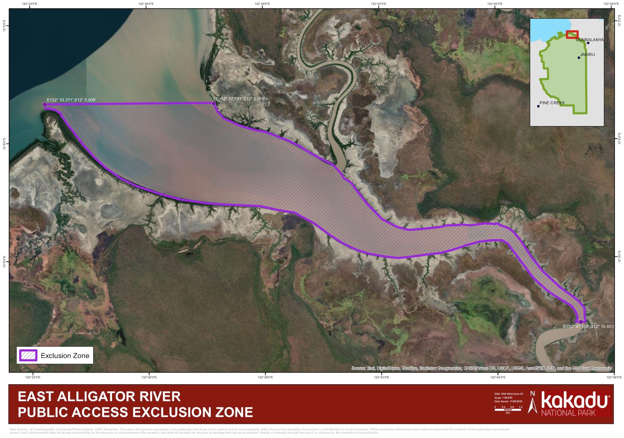 Exclusion zone in East Alligator River