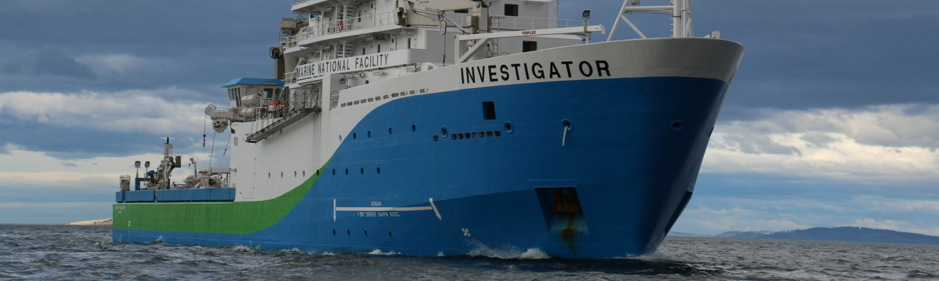 The Marine National Facility research vessel Investigator, departing Hobart. Photo by CSIRO