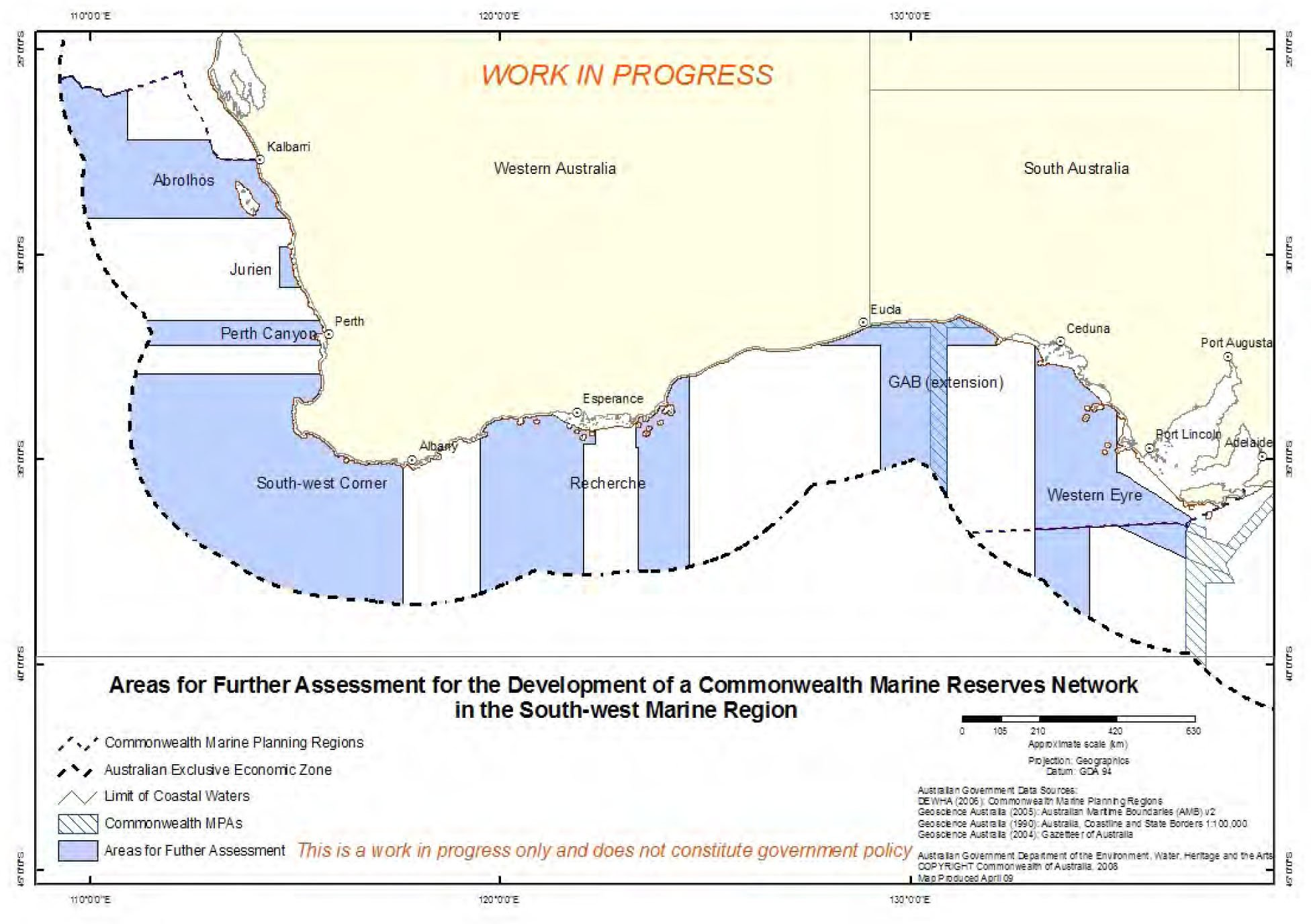 Map showing the Areas for Further Assessment in the South-west Marine Region