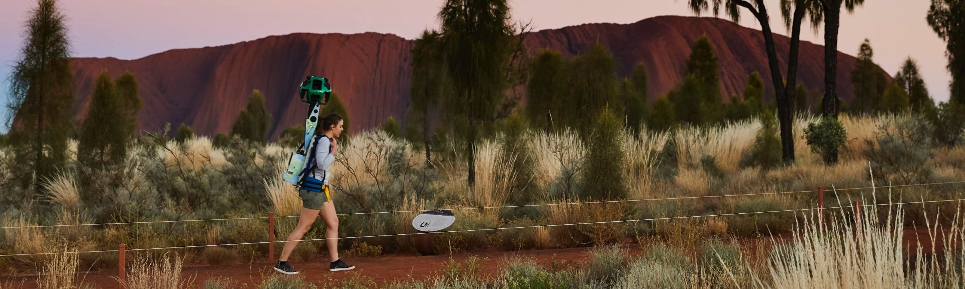 Capturing 360-degree footage at Uluru. Photo: Google