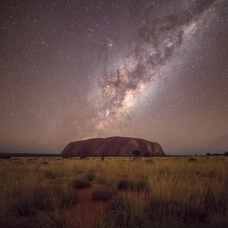 Milky way over Uluru. Photo: AstroWorkshops
